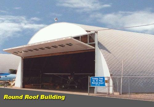 Round Roof Building Door Photos Quonset Barns T Hangar